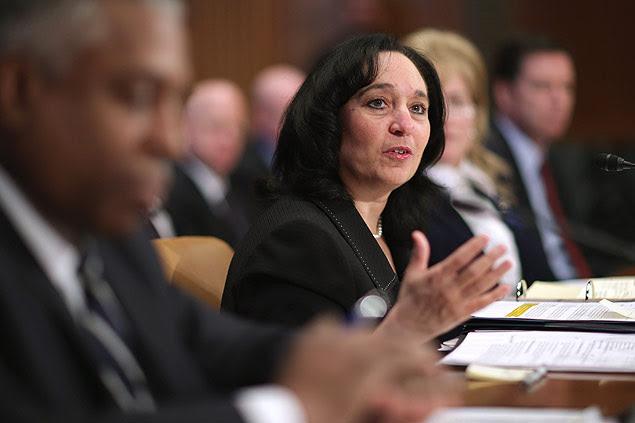 A diretora da DEA (agência antidrogas dos EUA), Michele Leonhart, durante depoimento em comitê do Senado em março