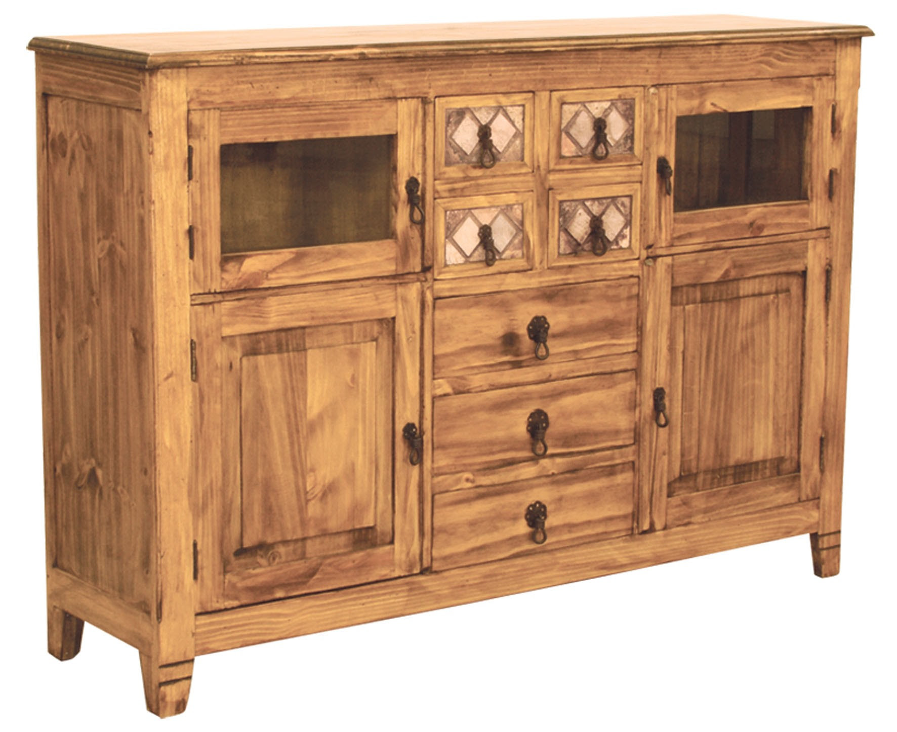 Marble And Pine Rustic Sideboard and Buffet Dining Furniture