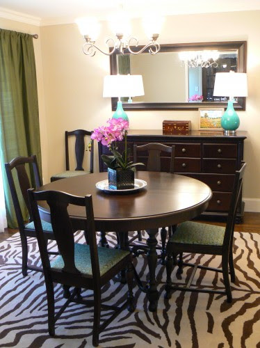 Fresh & Funky Dining Room w/ Turquoise & Zebra Accents | It's ...