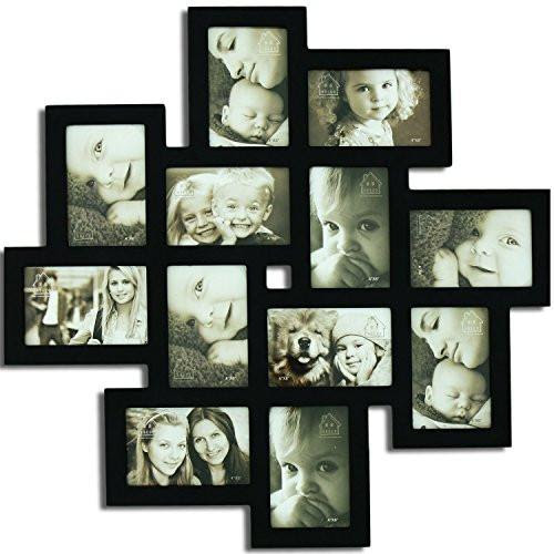Adeco Decorative Black Wood Wall Hanging Collage Picture Photo Frame
