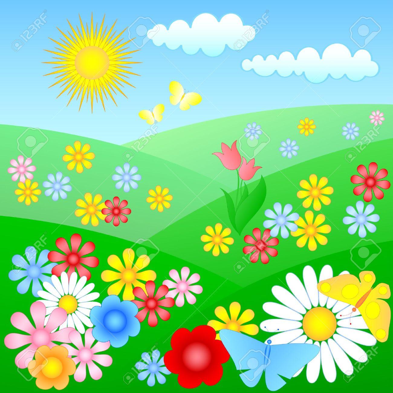 flower meadow clipart 11