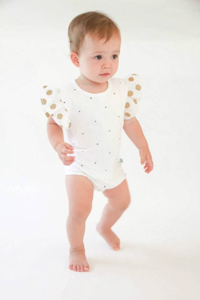 Gold polka dot onesie - via DTLL.