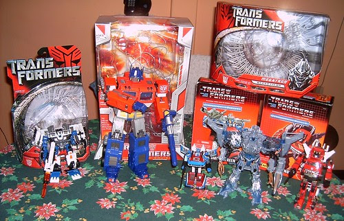 Transformers Longarm Movie Deluxe, Optimus Prime 20 Aniversario, Megatron Movie Voyager, Smokescreen G1 Reissue, Inferno G1 Reissue