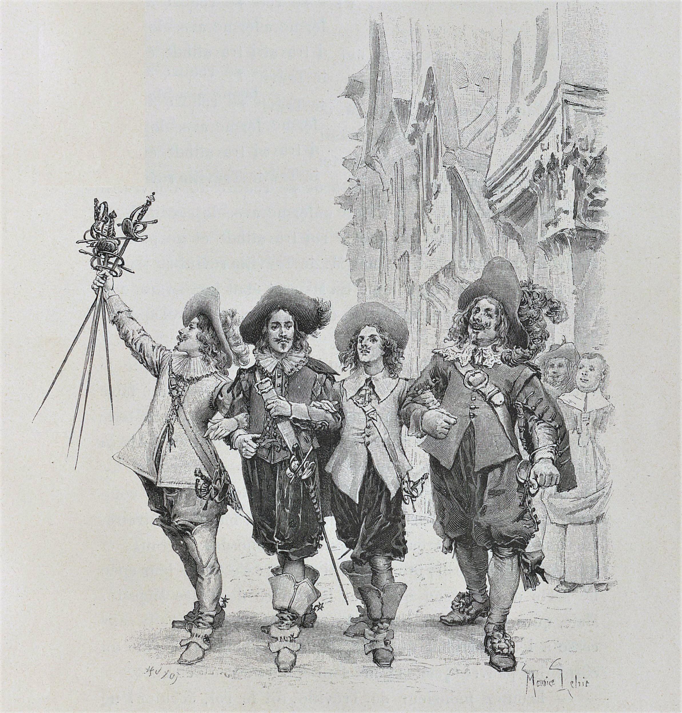 Cinefórum: (pen)última adaptación de los mosqueteros - Dibujo de Maurice Leloir