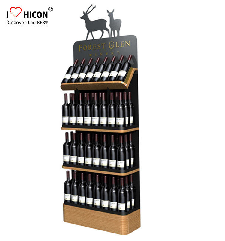 Freestanding Custom Wooden Wine Display Rack For Liquor Store