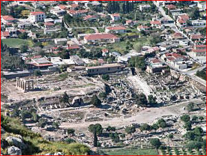 The ruins of Corinth, seen from atop Acrocorinthus