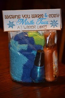 Gift Idea - fuzzy socks, nail polish and lotion.