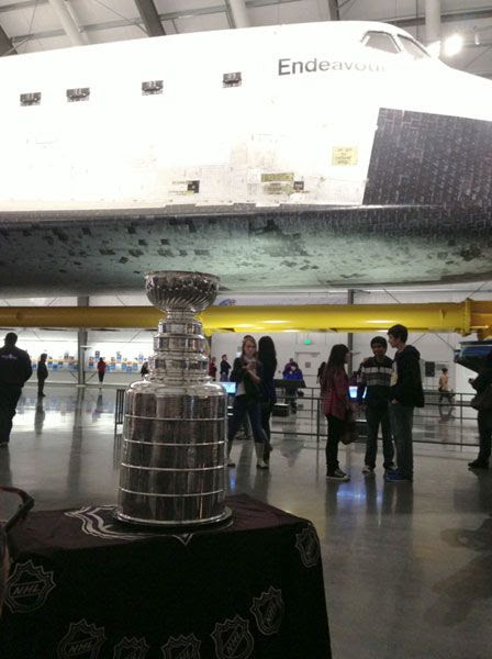 The Stanley Cup trophy is displayed near space shuttle Endeavour inside the Samuel Oschin Pavilion at the California Science Center...on November 30, 2012.