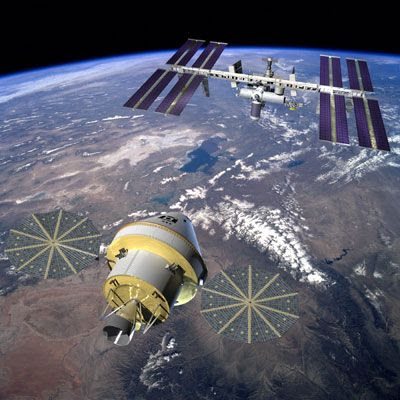 An artist's concept of the Orion spacecraft approaching the International Space Station.
