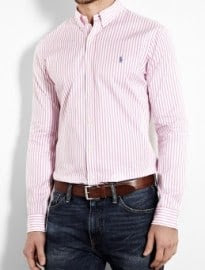 Polo Ralph Lauren Pink Stripe Poplin Slim Shirt