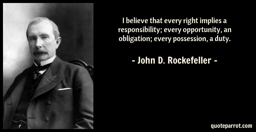 I Believe That Every Right Implies A Responsibility Ev By John D