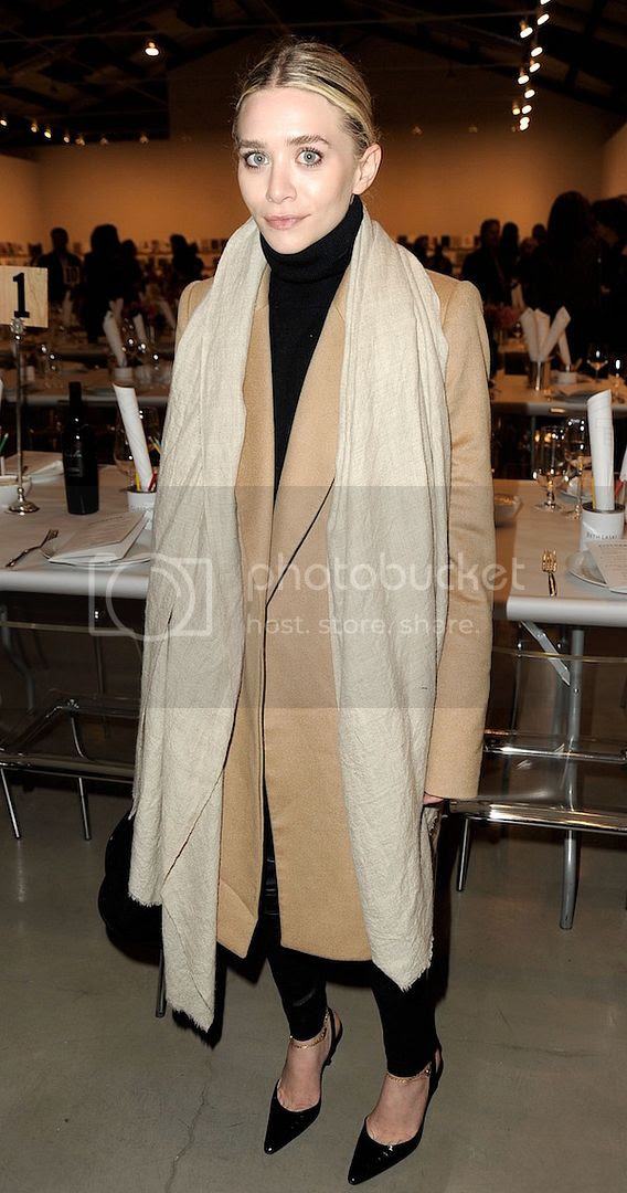 Olsens Anonymous Blog Ashley Olsen Twins How To Style Camel Coat Oversized Neutral Scarf Black Turtleneck Sweater Leather Pants Slingback Heels