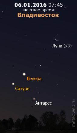 Убывающая Луна на утреннем небе Владивостока 6 января 2016 г.