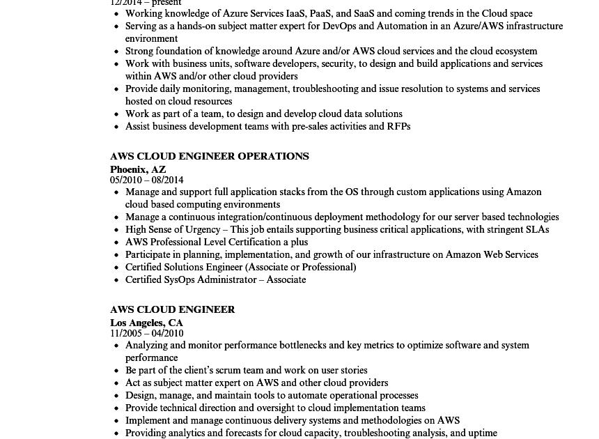 aws cloud engineer resume sample  finder jobs