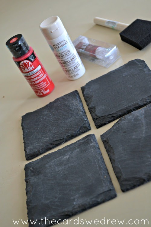 slate tile coasters with paint