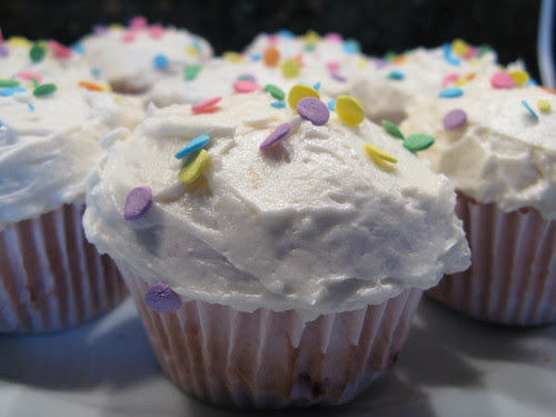 Raspberry Angel Food Cupcakes with Cubby's Frosting