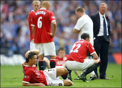 Man Utd's players look dejected