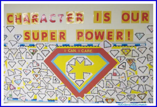 """""""Character is our Super Power"""" Bulletin Board via RainbowsWithinReach"""