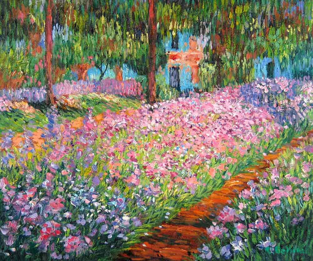wholesale-and-retail-painting-Artist-s-Garden-at-Giverny-by-Monet-Claude-France-Free-shipping-6pcs