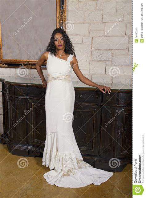 Beautiful Black Adult Bride In Wedding Gown Stock Photo
