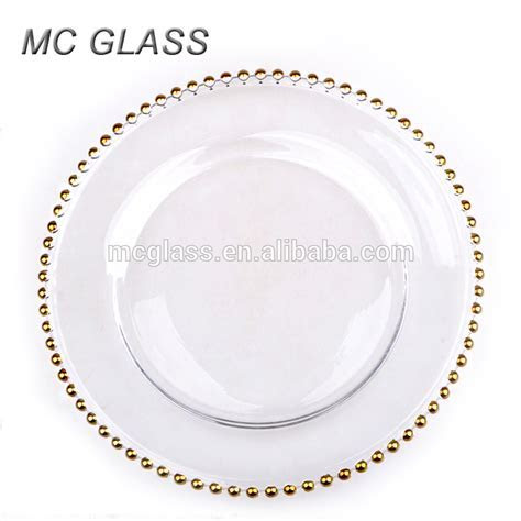 Cheap Wholesale Wedding Gold Silver Glass Beaded Charger