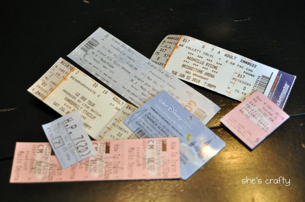 concert tickets, ticket storage, movie stubs