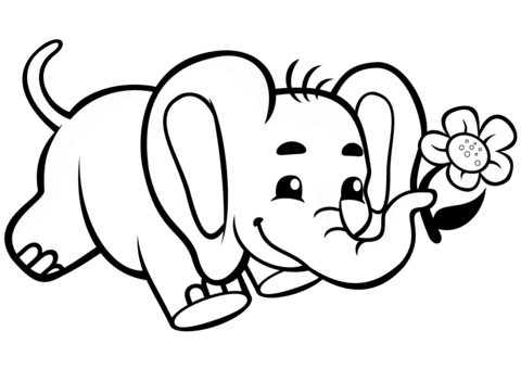 74 Coloring Pages Of Cute Baby Elephants For Free