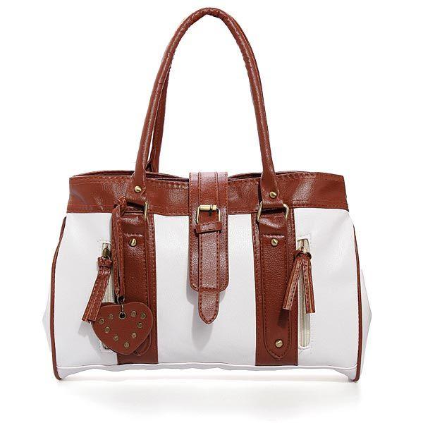 Bolsa lady branca e marrom.