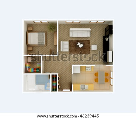 3D Bathroom Floor Plan