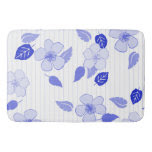 Blue Flowers And Pin Stripes Bath Mats