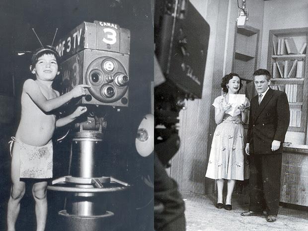 Garoto vestido como índio, o símbolo da TV Tupi e  Lia de Aguiar e Dionisio Azevedo, em cena de 'Sua vida me pertence', primeira telenovela brasileira (1951)