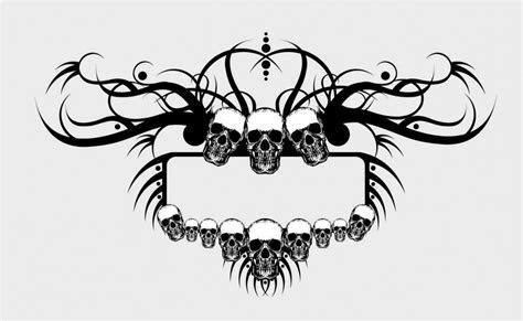 Grunge skulls frame vector   Free download