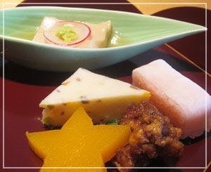 千葉「美濃吉」にて、冬の彩り五種。和食の前菜、綺麗で大好き。