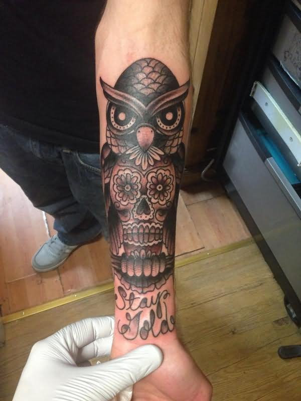 Sugar Skull Day Of The Dead Owl Tattoo On Forearm