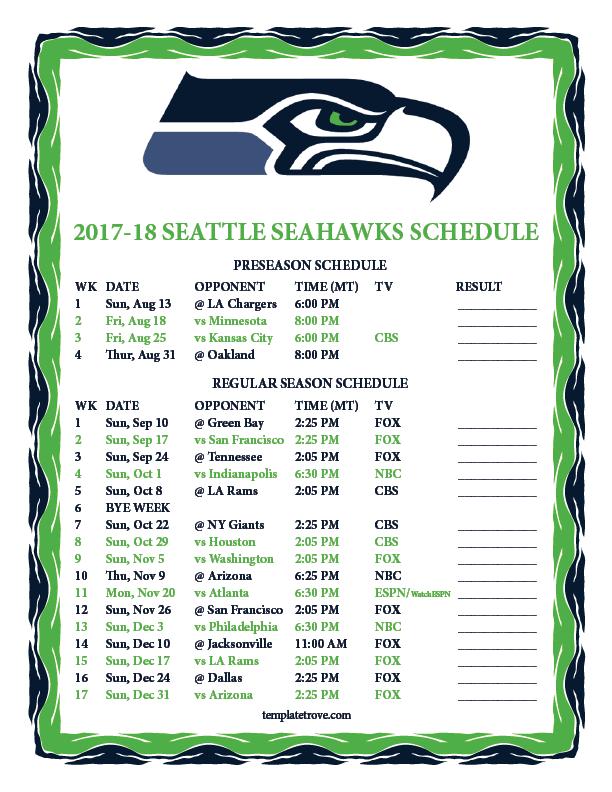 2017 2018 Printable Seattle Seahawks Schedule MT PNG