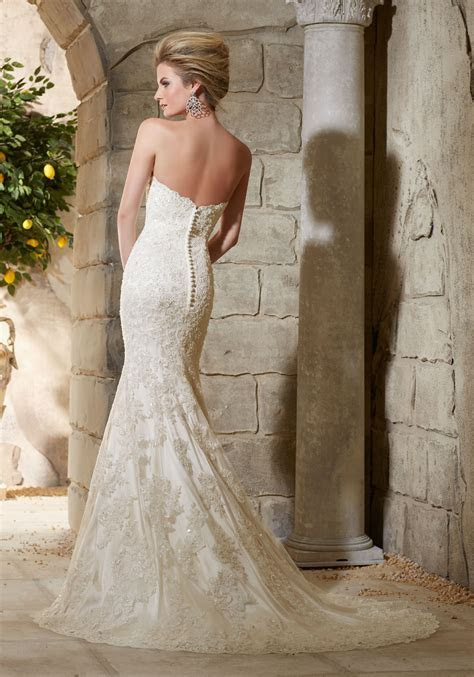 Alencon Lace on Net Over Soft Satin with Crystal Beading