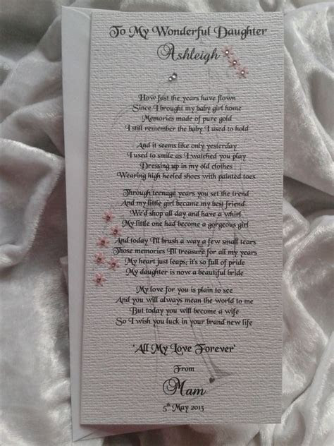 mother  parents   bride  daughter personalised