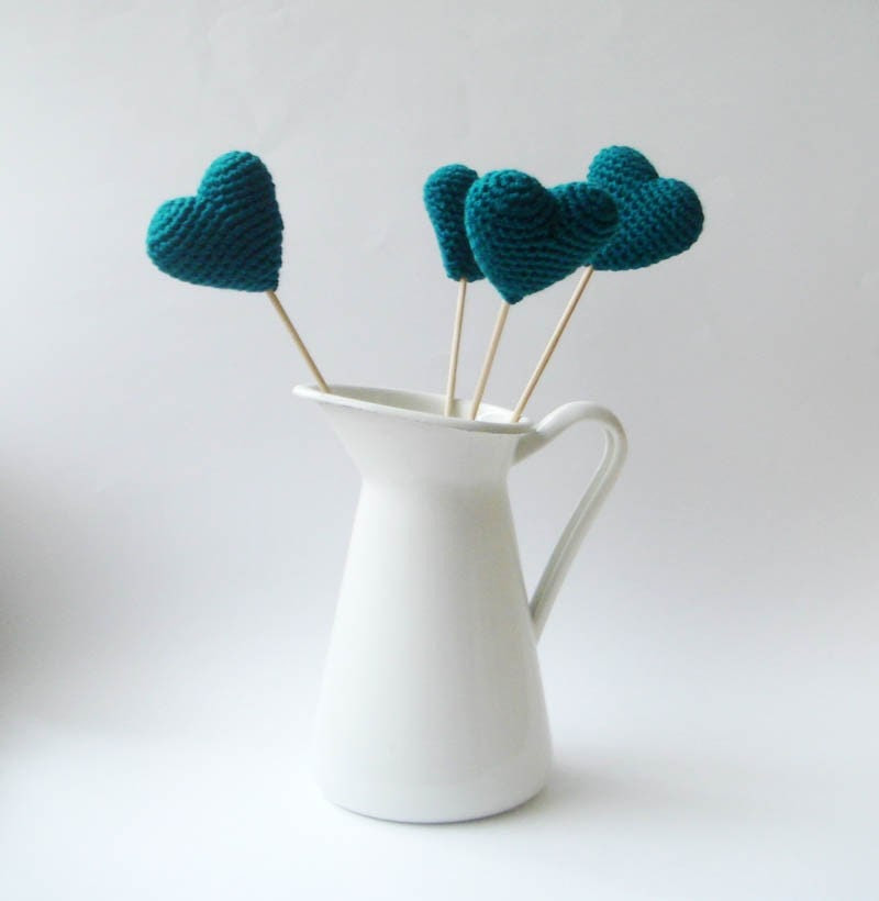 Teal crocheted hearts(set of 4)