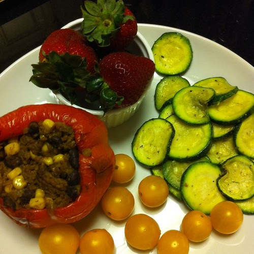 Taco Stuffed Pepper w/ grilled squash!