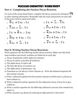 Radioactive Decay and HalfLife Practice Problems Determine the