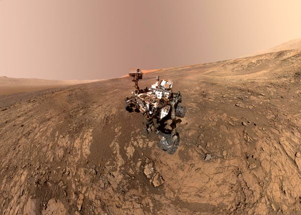 A self-portrait of NASA's Curiosity Mars rover, taken with a camera on her robotic arm on January 23, 2018.