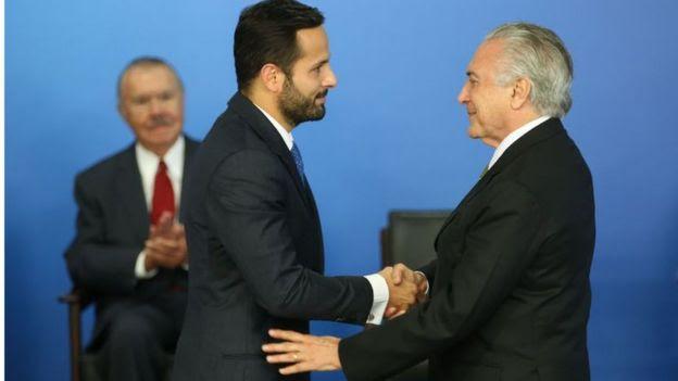 Marcelo Calero e o presidente Michel Temer, com José Sarney ao fundo