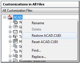 Restore ACAD.CUIX
