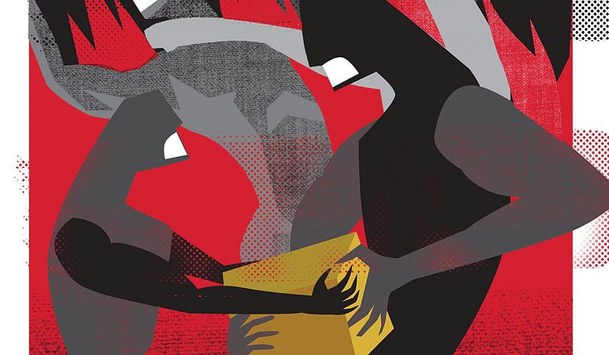 Illustration on the siren song of socialism by Linas Garsys/The Washington Times