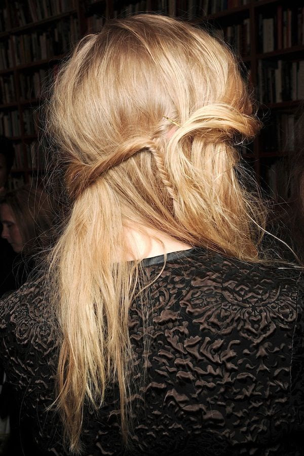 Le Fashion Blog Romantic Hairstyle Half Up Hair With Mini Fishtail Braid Bohemian Bride Date Night Hair Inspiration Rodarte FW 2011 Via Vogue Italy