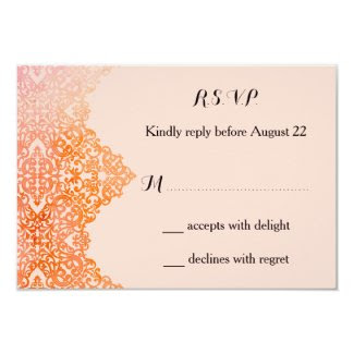"Damask Border Wedding RSVP Card 3.5"" X 5"" Invitation Card"