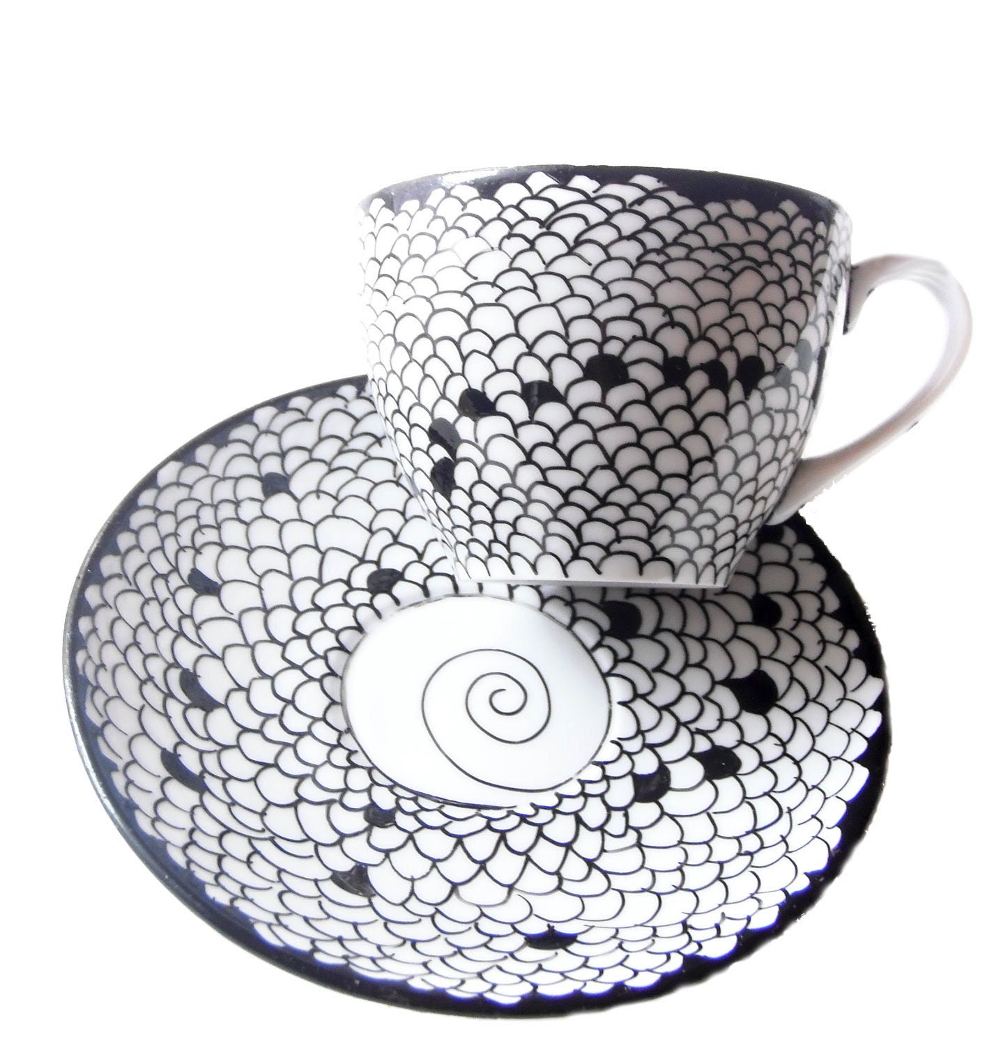 CLEARANCE Teacup Hand painted teacup - Honeycomb - WAS 26 USD