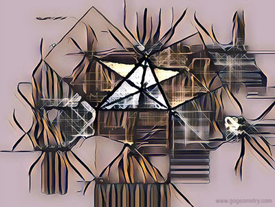 Geometry Art of Problem 503, Triangle, Three Squares, Concurrency, Sketch. Computer, Tablet