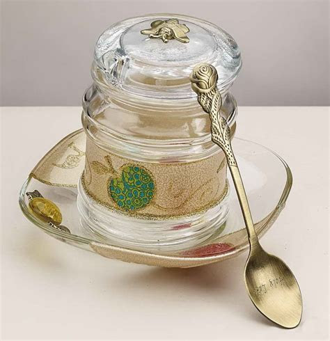 Rosh Hashanah Gift Glass Apple Designed Honey Jar Made In