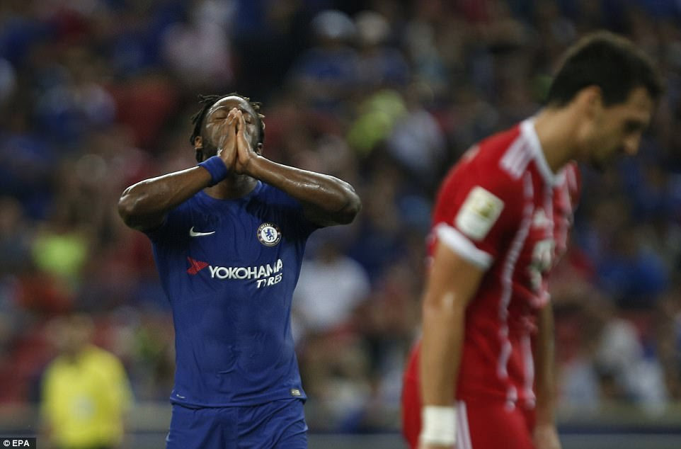 Belgium international Batshuayi reacts after missing a golden opportunity to score for Conte's Premier League champions